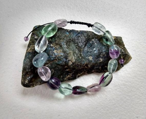Rainbow Fluorite and Amethyst Adjustable Shamballa Bracelet