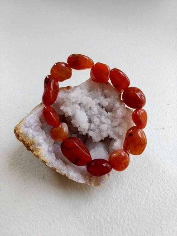 Carnelian Tumbled Stone Stretch Bracelet
