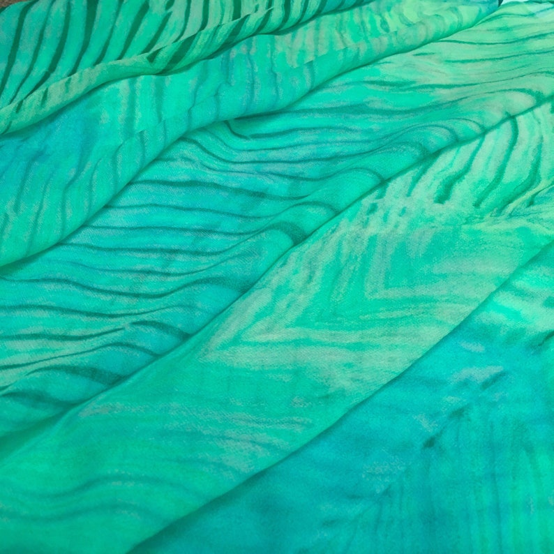 Blue and Green Chevron Stripes Arashi Shibori Chiffon Silk Scarf / Sheer /  Blue and Green / Pole Wrap / Shawl / Hand Painted / Gift for Mom