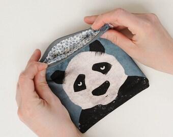 Mini Pouch with illustration Panda-mini Clutch