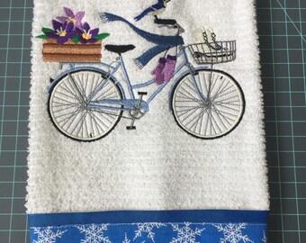 Winter/Snow Bike, Embroidered White Kitchen Towel w/Snow Fabric Boarder