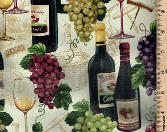 Wine /& Grapes on Cream B//G-Timeless Treasures-BTY