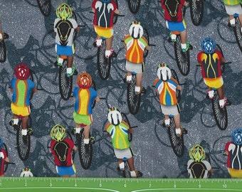 Bicycle Marathon,on Gray, Timeless Treasures