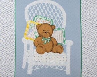 """AdorableTeddy Bear on white Chair,baby Panel36x44"""""""