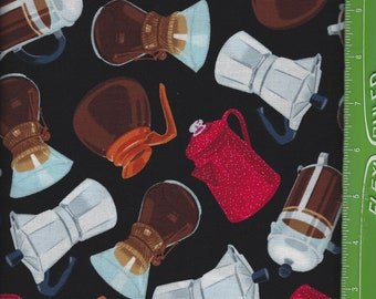 Coffee Pots on Black,Timeless Treasures