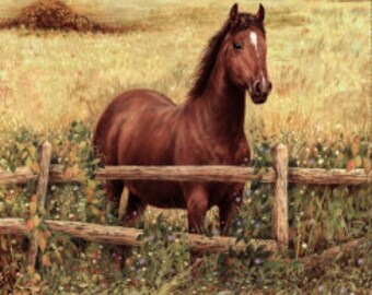 """Hold you Horses,Panel, earth tones,Penny Rose 36x45"""""""