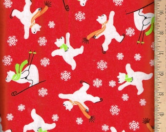 Soft Flannel,Skating Polar Bear on red