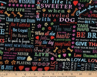 Faithful Friend, Dog allover Word sayings,Blank Quilting