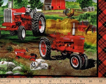 Farmall Tractor, Pillow Panel 44x36 w/ Lamb,pig,rooster