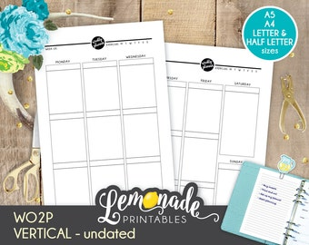Weekly Planner vertical planner Insert A5 Printable WO2P vertical planner insert A5 filofax large kikki k A5 color crush similar planners.