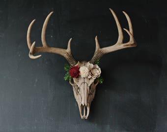 Faux Taxidermy Large Deer Skull Deer Skull Floral Skull Etsy