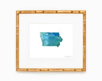 Iowa State Silhouette - Heart at Home - Made to Order - Iowa Art - Original Watercolor Painting - Hometown Art Print