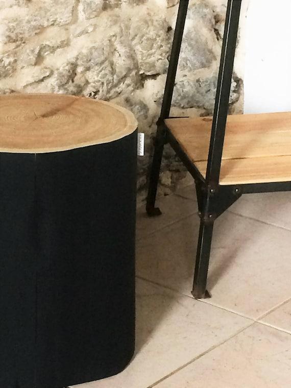 Bout De Canape Noir Mat Table Tronc D Arbre Table D Appoint Bois Industriel Tabouret Rondin Tree Stump Table Bedside Table Coffee Table