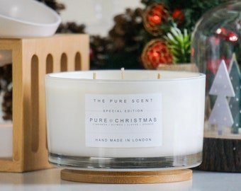 Pure Christmas Large 3 Wick Soy Candle, handmade in London, handmade candle, Christmas candle, scented candle, Christmas gift, homemade gift
