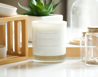 Pure Vanilla Soy Candle, handmade in London, homemade candle, natural candle, scented candle, soy wax candle, wedding gift, homemade gift