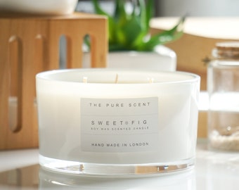 Sweet Fig Large 3 Wick Soy Candle, handmade in London, homemade candle, natural candle, scented candle, soy candles, home decor,wedding gift