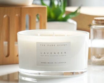 Aromatherapy Lavender Large 3 Wick Soy Candle, handmade in London, homemade candle,natural candle, scented candle, soy wax candle,home decor