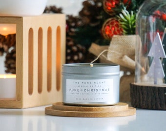 Pure Christmas Soy Candle in a Tin, handmade in London, homemade candle, Christmas candle, scented candle, Christmas gifts, homemade gift