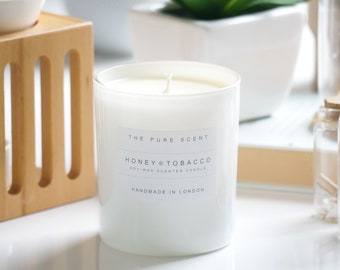 Honey & Tobacco Soy Candle, handmade in London, homemade candle, natural candle, scented candle, soy wax candle, home decor, homemade gift