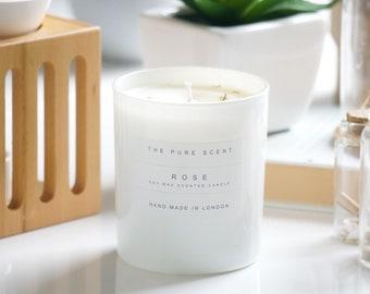 Rose Soy Candle, handmade in London, homemade candle, natural candle, scented candle, soy wax candle, housewarming gift, homemade gift,