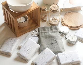 Soy Wax Melts Gift Set, 2 x 25g snap bars w/ soy tealight, handmade in London, handmade gift, soy wax melt, wedding wax melt, soy tealight