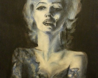Artistic portrait on paper with charcoal colors of your choice (blue, red, bicolor ...) Custom-from photo-commissioned