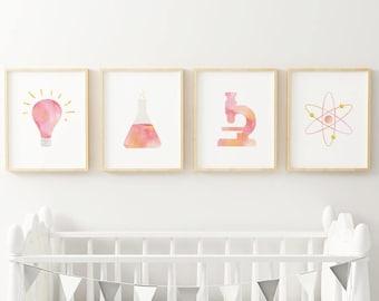 Superb Science Nursery Print Set / Chemistry Classroom Poster / Tiny Feminist  Blush Nursery Art / Kids Room Art / Scientist Birthday Party / STEM