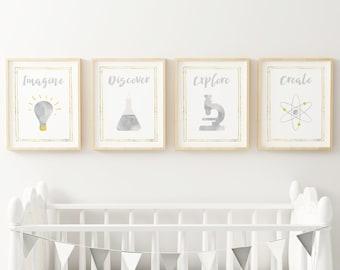 Gender neutral nursery decor, Gray and gold chemistry art, Kids playroom print set boy and girl, Printable science nursery wall art digital