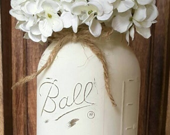 Painted and Distressed Mason Jar. Mason Jar Home Decor. Wedding Centerpieces. Nursery Decor. Rustic Home Decor. Primitive Farmhouse Decor.