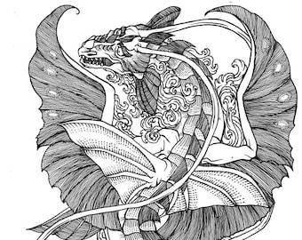 Seadrake - ink illustration for Paizo's Pathfinder Adventure Path
