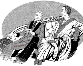 Sherlock Holmes and John Watson - Digital Print