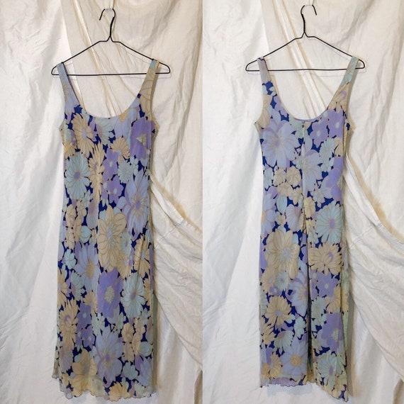 Vintage 90s Ann Taylor Blue Floral Slip Dress - image 4