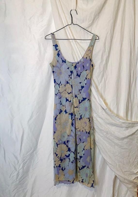 Vintage 90s Ann Taylor Blue Floral Slip Dress - image 8