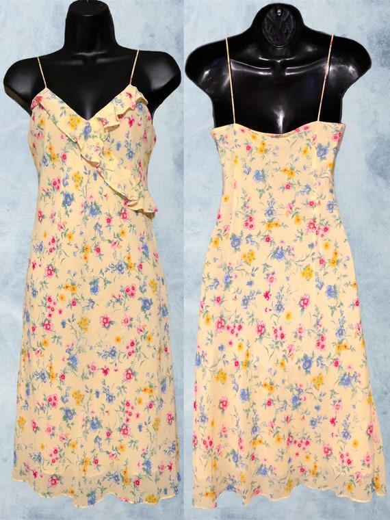 Vintage 90s Ralph, Ralph Lauren Yellow Floral Sli… - image 1