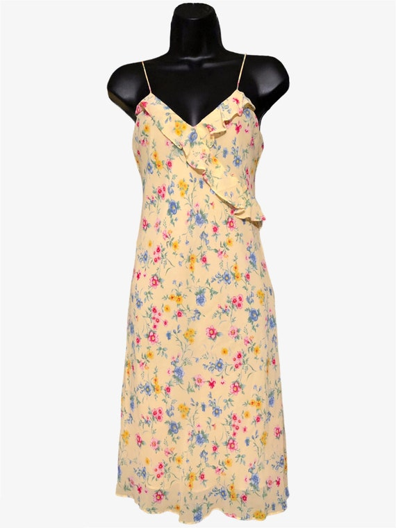 Vintage 90s Ralph, Ralph Lauren Yellow Floral Sli… - image 2