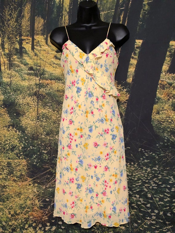 Vintage 90s Ralph, Ralph Lauren Yellow Floral Sli… - image 8