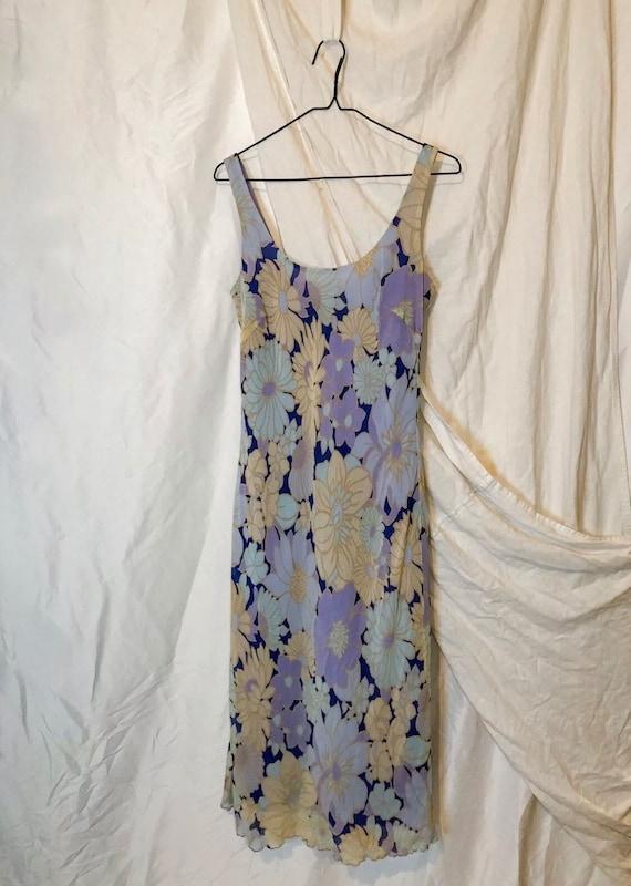 Vintage 90s Ann Taylor Blue Floral Slip Dress - image 2