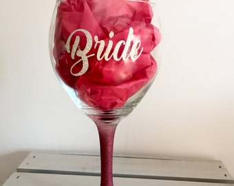 Bride Wine Glass, Personalized Bridesmaid Wine Glasses, Personalized Bachelorette Glasses, Bachelorette Party Wine Glass