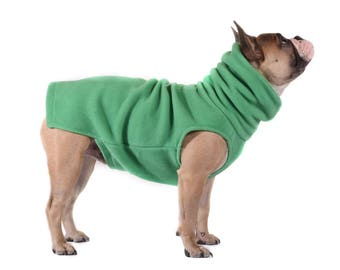 7. Sold Out!   KELLY GREEN Polartec 200 sweater soft, warm, cozy, French Bulldog, Boston terrier, pug coat stretchy indoor/outdoor