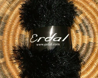 Erdal Glowlash Made in Turkey Color No 04 Lot No 02035 Black Crochet Knit