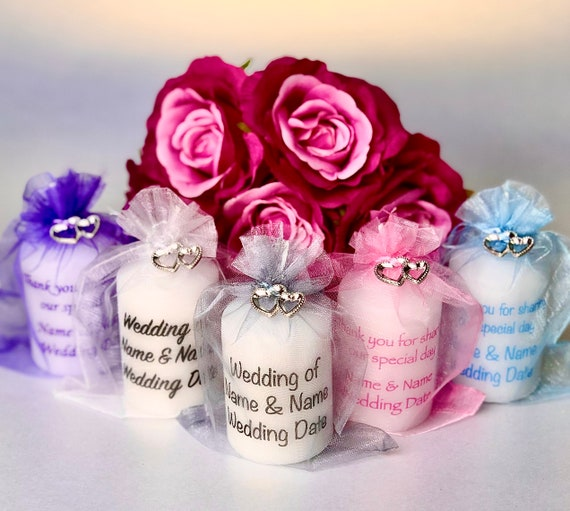 Personalised Wedding Engagement Favour Candle Turquoise Roses Any Event
