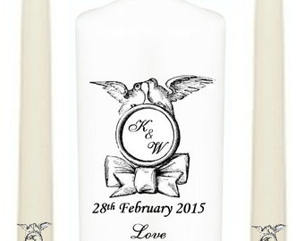 Personalised Unity Set, Perfect Wedding Gift, Anniversary, Monogram Design With Doves In Many Colours