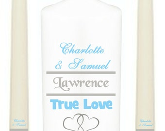 Personalised Unity Candle Set, True Love, Perfect Wedding Anniversary Gift, Many Colours