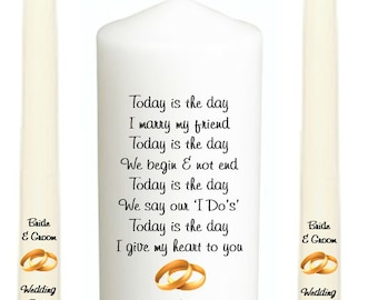 Personalised Unity Set, Perfect Wedding Gift, Anniversary, Today Is The Day In Many Designs