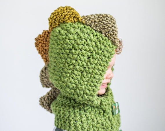 Hand Knit Dinosaur Hood for Kids to Adults, Soft and Warm Easy Care Acrylic Hood for Dino Lovers, Warm Winter Hoods