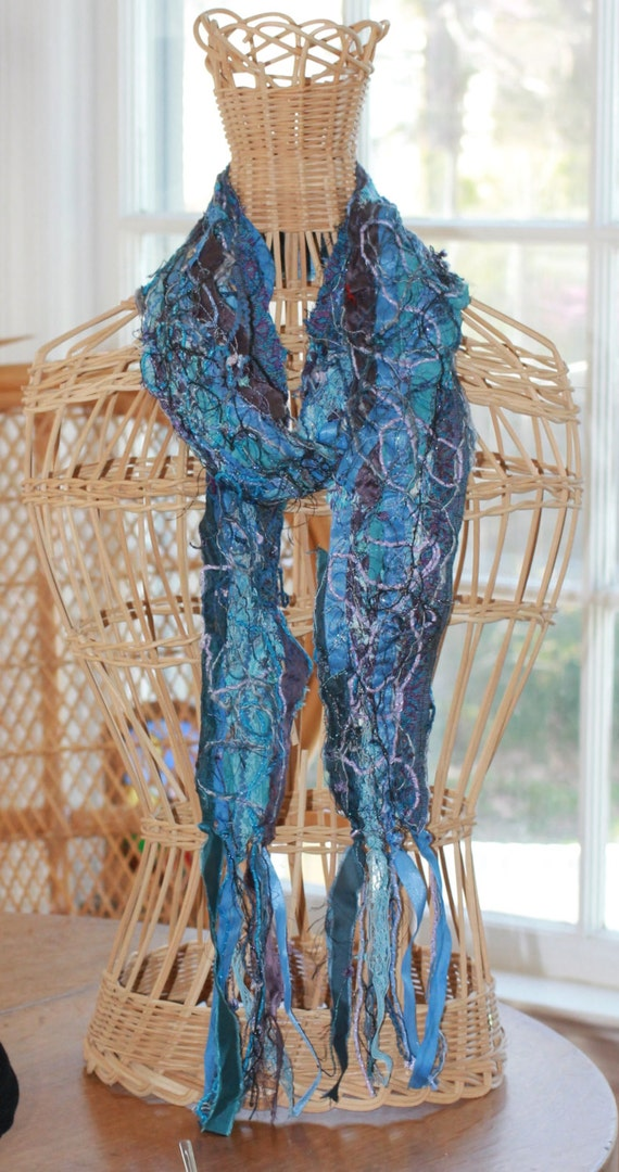 Colors of the Sea Tapestry Scarf, Handmade Textile Art Collage Scarf, Unique Art Scarves for Women