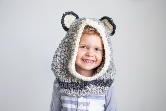 Hand Knit Wolf Hood for Kids to Adults, Soft and Warm Easy Care Acrylic Hood for Animal Lovers, Warm Winter Hoods