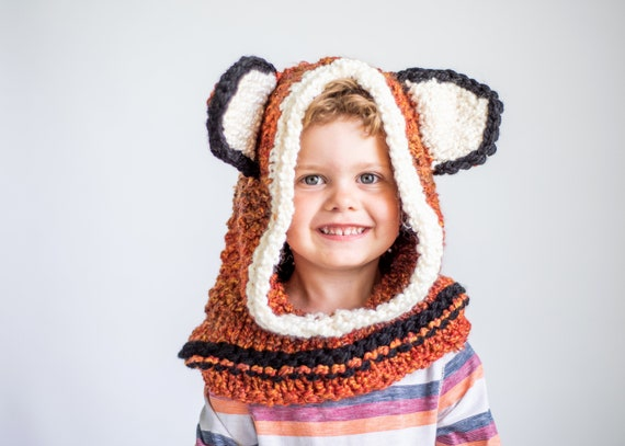 Hand Knit Fox Hood for Kids to Adults, Soft and Warm Easy Care Acrylic Hood for Animal Lovers, Warm Winter Hoods