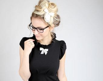 "MEKO® ""Ropa"" Dress Black Bow Ladies Short Sleeve Dress Black Bow"