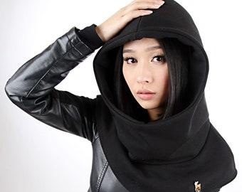 MEKO® Hooded Hat Women's Black Cap Cape Toadstool